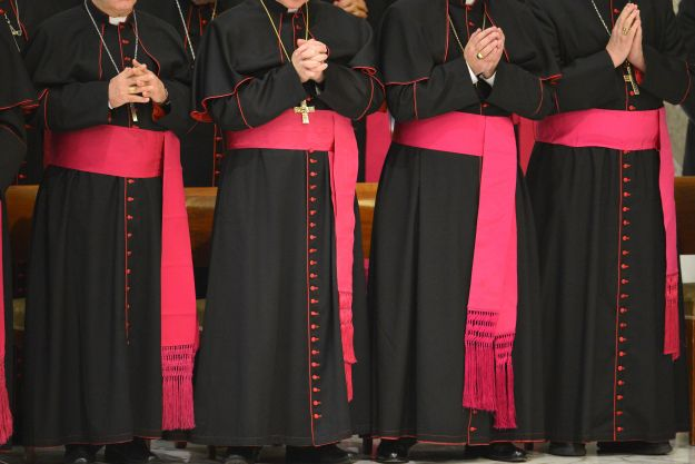 Bishops pray during the pontif's weekly general audience on January 9, 2013 at the Paul VI hall at the Vatican. AFP PHOTO / VINCENZO PINTO